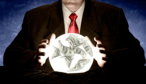 Businessman Consulting Financial Crystal Ball